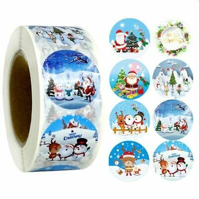 Merry Christmas Stickers 25mm Labels Round Gift Seal Santa Snow Tree Party Xmas • 1.89£