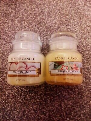 Yankee Candle Christmas Scent Small Jar Bundle Christmas Cookie & Snow In Love • 11.99£