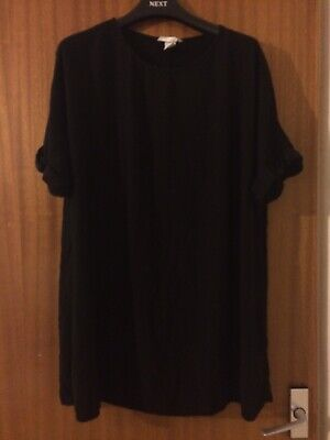 H&M Long Black Tunic Top Size 42 (14 But Fits Very Loose) • 0.99£