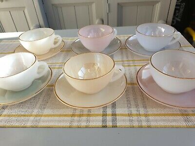 Set Of 6 Vintage Arcopal Harlequin Cups And Saucers,pastel Shades With Gold Rims • 45£