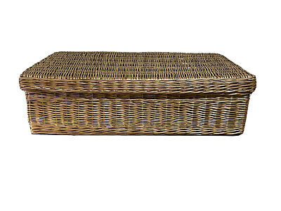 Extra Large Wicker Basket With Lid Storage Under Bed Hamper Christmas 95x62x26cm • 65£