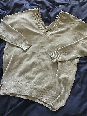 Topshop Jumper -sparkly Silver Thread Knit Slouchy Women's Size 10 • 2.20£
