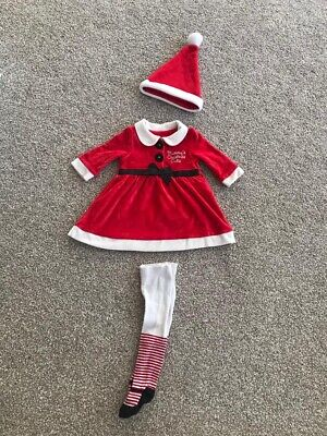 Baby Girls Christmas Outfit Dress Tights Hat 0-3 Months • 3.99£