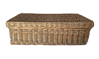 Extra Large Wicker Basket With Lid Storage Under Bed Hamper Christmas 82x52x24cm • 55£