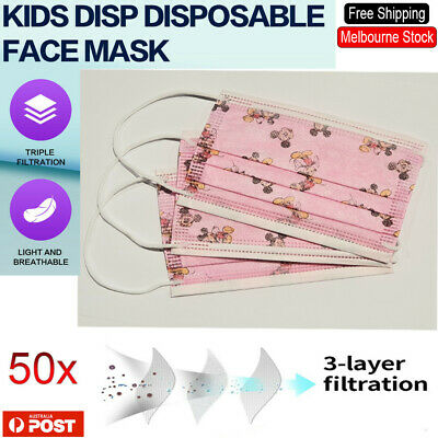 AU13.41 • Buy Disposable 3PLY Face Mask Printed Kids Face Mask Protective 3 Layer Masks Filter
