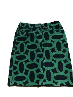 Boden 6R Geometric Green/navy Skirt. Circles. Excellent Condition. 100% Cotton • 5.50£