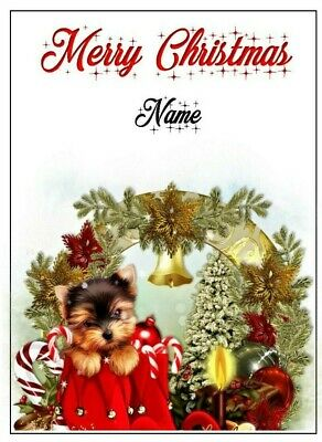 Cute Yorkshire Terrier Puppy Personalised Christmas Card Gift Friends Family • 3.50£