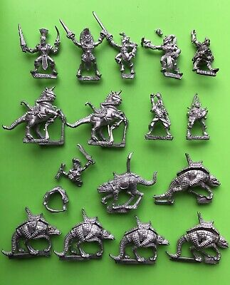 Warhammer Fantasy X8 Dark Elves Dark Elf Elves Cold One Riders Citadel Metal GW • 50£