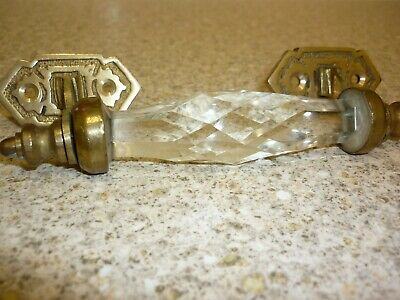 Glass Diamond Cut Drawer Handle, Brass, Good Condition, Shabby Chic Use? • 4£