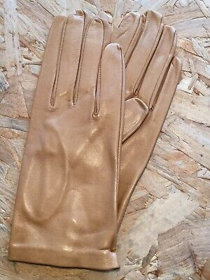 Stylish Ladies Leather Gloves - Camel Brown - Unlined • 10£
