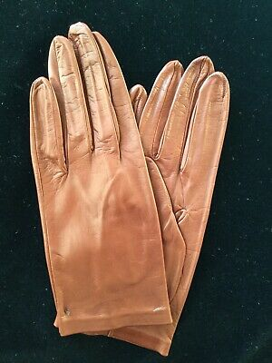 Stylish Ladies Leather Gloves - Brown - Unlined • 10£