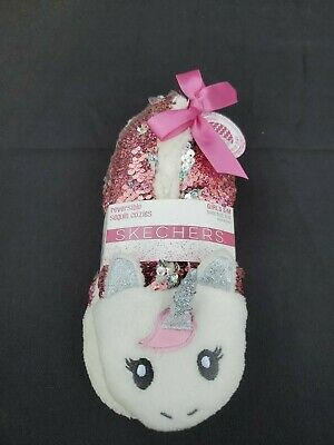 Skechers Reversible Sequin Pink Unicorn Cozies / Slippers Girls S/M Size 9-12 • 10.85£