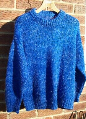 Hand Knitted Thick Blue Jumper Oversized Slouchy Approx 16 (40' Bust) • 3.99£