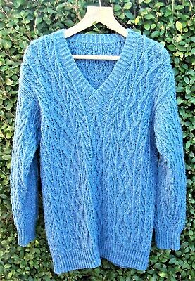 Home Knitted Oversized Slouchy Blue Chunky Cable Knit 40'' Bust Jumper • 6.99£