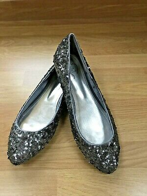 Evans Sparkly Flat  Party Shoes Size 6eee Wide Fit. Christmas/ New Year • 4.99£