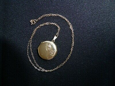 Vintage 9ct Gold Back And Front Locket And 18  Fine Chain • 50£