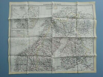 WWII Pilots RAF Silk Escape And Evasion Map Double Sided, Scandinavia 1940's • 225£