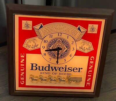 $ CDN107.96 • Buy Budweiser Vintage 1986 Pull-Chain Lighted Wall Clock Beer Sign Clydesdales