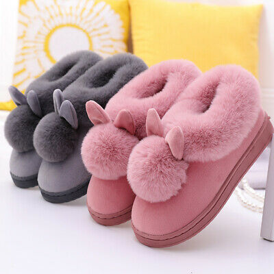 £12.54 • Buy US Women's Bootie Slippers Ears Ball Ankle High House Shoes Anti-Slip Warm Boots