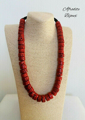 Necklace IN Coral Bamboo Red Washers Women's Summer Style Ethnic Indie • 14.45£