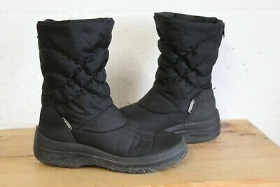 Black Winter Snow Boots Size 3 / 36 Fleece Lined By Pavers Used Condition • 9.99£