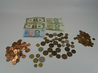 Small Job Lot Of UK And Foreign Coins And Notes Discontinued And Active • 3.77£