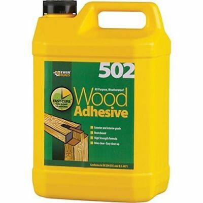 Everbuild 502 PVA Weatherproof/Waterproof Wood Adhesive/Glue - 5 Litre (5L) • 17.60£