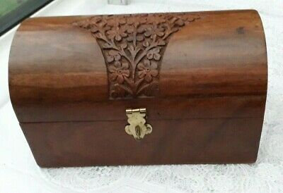 Wood Domed Jewellery Box Mirrored Trinket Box Pirate Treasure Chest Trunk • 19.99£