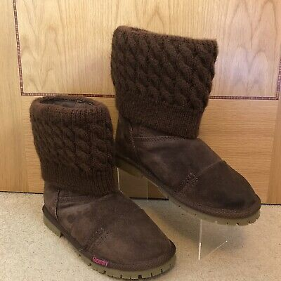SUPERDRY Women's Chocolate Brown Suede Knitted Top SOX Boots Size 6  Was £149.99 • 65£