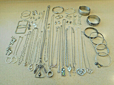 $ CDN22.05 • Buy Huge 43 Pc Lot Vintage/Estate/Now Silver-tone Costume Jewelry ALL WEARABLE 1+Lbs