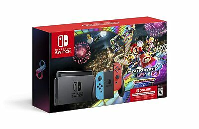 $ CDN495.76 • Buy Nintendo Switch Neon Blue Red Joy-Con + Mario Kart 8 Deluxe + 3 Month Membership