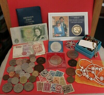 Joblot Of Old Coins, Foreign & Some British-notes And Stamps And Decimal Set • 12.50£