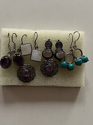 Vintage Sterling Silver 925  Multi Gemstone Earrings Lots Fabulous • 10.50£