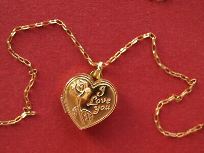9ct Yellow Gold 2 Pictures Heart Locket & Fine Chain Necklace 2.20 Grams 20   • 70£