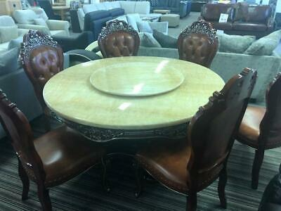 Italian Marly  Hand Carved Marble Oak Dining Set Table And 6 Leather Chairs RRP  • 1,900£