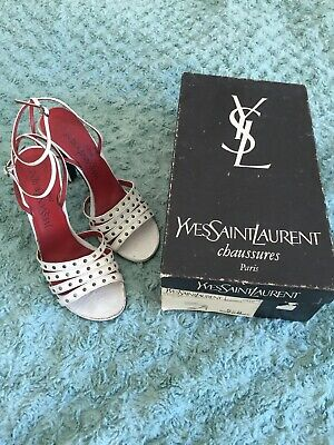 Vintage YSL Yves Saint Laurent White Strapped High Heel Shoes UK 3.5 With YSLBox • 75£