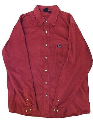 Cotton Traders - LARGE - Red - Cord / Corduroy Mens Shirt • 9.99£