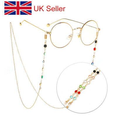 Glasses Sunglasses Chain Holder Gold Crystal Lanyard Necklace Neck Cord String L • 3.94£