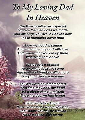 To A Loving Dad In Heaven Memorial Graveside Poem Card & Free Ground Stake F381 • 2.99£