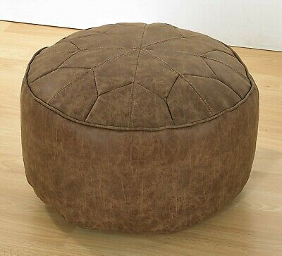 Moroccan Foot Stool - Pouffe - Bean Bag - Antique Effect - Faux Leather • 33.99£