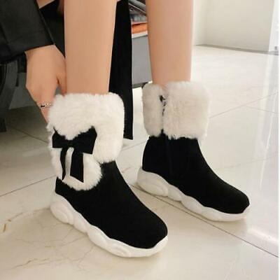 Womens Cute Sweet Lolita Faux Suede Fur Top Bow Tie Winter Snow Boots Shoe Ting1 • 34.89£