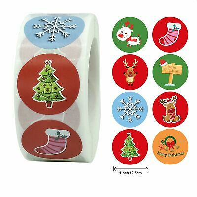 Christmas Stickers 25mm Round Labels Gift Seal Santa Love Snow Tree Party Xmas • 2.49£