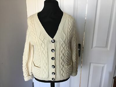 Ladies Hand Knitted Aran Cable Cardigan Size 10 /12 • 30£