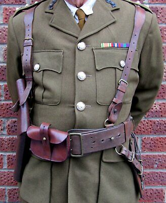 Ww1 British Army Officers Complete Sam Browne 6 Piece Set- Large Waist Size • 87.85£