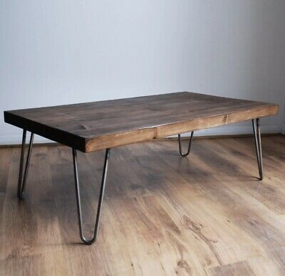 Rustic Vintage Industrial Solid Wood Coffee Table-Bare Metal Hairpin Legs, Dark • 99£
