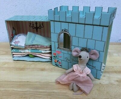 $120 • Buy NEW Maileg Mice PRINCESS MOUSE ON THE PEA Blue Castle + Giftbox--RETIRED NIB