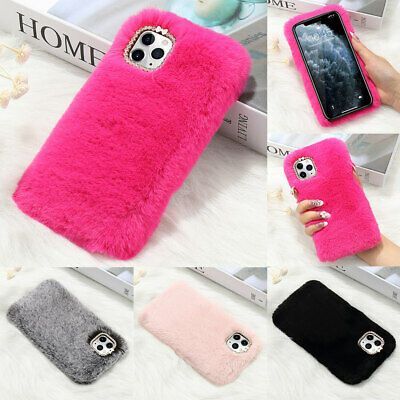 Plush Fuzzy Soft Shockproof Faux Fur Phone Case Cover For IPhone 11 12 Pro XR 8 • 4.55£