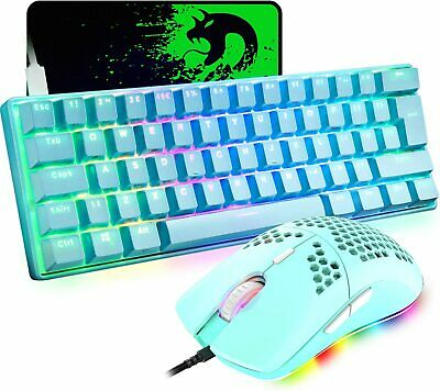 AU86.19 • Buy 60% True Mechanical Gaming Keyboard Wired 61 Keys And Lightweight RGB Mouse Sets