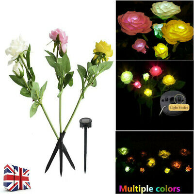 6 LED Solar Power Rose Flower Stake Lights Outdoor Garden Path Luminous Lamps UK • 14.99£