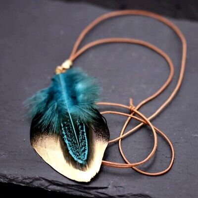 Feather Necklace Boho Hobby Indie Gipsy Festival Leather Necklace Pendant Black • 16.87£
